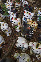 Maneki Neko at Awashima Shrine - Awashima Jinja is a shrine for women, famous for its huge collection of dolls. Japanese are superstitions about dolls, many people find them mysterious or frightening, believing that they have souls or the power to influence human lives. There are a number of shrines and festivals where people dispose of their old dolls - they feel that if they just threw them in the garbage, the dolls' souls might come back to haunt them like ghosts. Awashima jinja is especially devoted to dispose of hina ningyo, which are dolls that are given to young girls on Girl's Day March 3rd. There are thousands of dolls here, as well as sculptures, figurines, carvings, and statues. You'll find tanuki, maneki neko, daruma, frogs and many more.