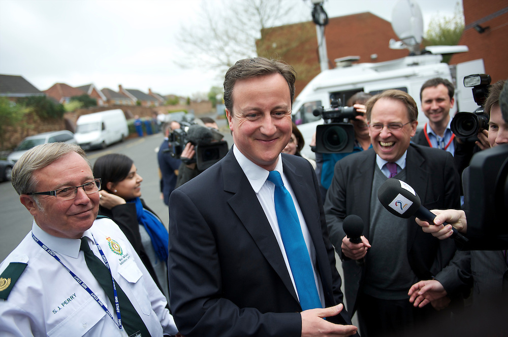 Conservatives leader David Cameron visits the West Midlands Ambulance Service in Dudley, West Midlands, UK, meeting paramedics on 5 May 2010.  In the final 36 hours of the campaign, Cameron embarked upon a non-stop battlebus tour covering over 1000 miles, attending rallies and visits across the country.