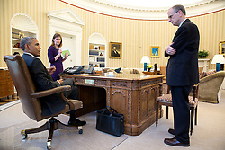 President Barack Obama meets with with Amy Rosenbaum, Deputy Assistant to the President for Legislative Affairs and Martin Paone, Deputy Assistant to the President for Legislative Affairs and Senate Liaison, in the Oval Office, April 20, 2015. (Official White House Photo by Pete Souza)<br /> <br /> This official White House photograph is being made available only for publication by news organizations and/or for personal use printing by the subject(s) of the photograph. The photograph may not be manipulated in any way and may not be used in commercial or political materials, advertisements, emails, products, promotions that in any way suggests approval or endorsement of the President, the First Family, or the White House.
