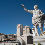 A face mask is seen on a statue at Caesars Palace on the Las Vegas Strip in Las Vegas, Nevada on Saturday, October 17, 2020. (Alex Menendez via AP)