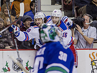 Ishockey<br /> NHL<br /> Foto: imago/Digitalsport<br /> NORWAY ONLY<br /> <br /> 13 December 2014 : first period - Mats Zuccarello Aasen  (36) and Derick Brassard (16) of the Rangers celebrate Zuccarello s goal in behind goalie Ryan Miller (30) of the Canucks during a game between the Vancouver Canucks and the New York Rangers at Rogers Arena in Vancouver, British Columbia, Canada.