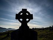 Celtic Cross headstones in Kilcatherine Cemetary on Sheep's Head in West Cork.<br /> Picture by Don MacMonagle -macmonagle.com