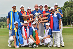 KUALA LUMPUR, Jan. 14, 2018  Members of Team Europe pose with the trophy after winning the EurAsia Cup 2018 at the Glenmarie Golf and Country Club in Kuala Lumpur, Malaysia, on Jan. 14, 2018. Team Europe won 14-10. (Credit Image: © Chong Voon Chung/Xinhua via ZUMA Wire)