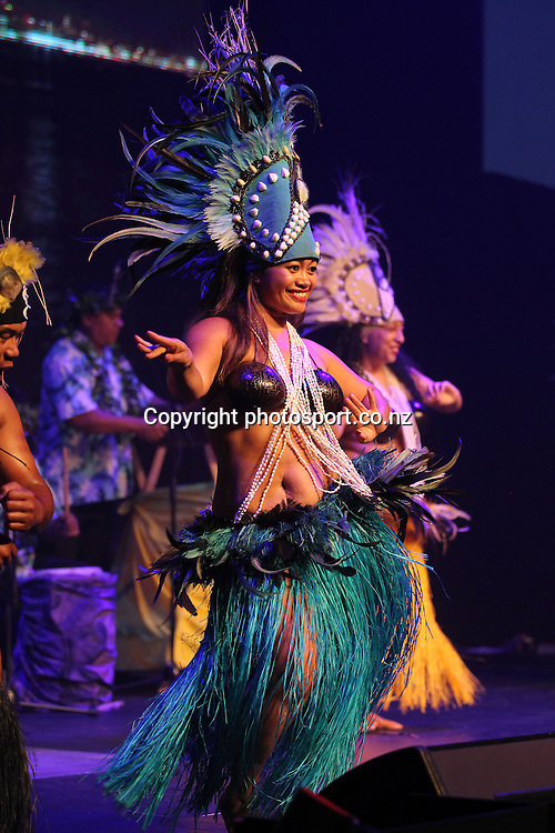 The Cook Island Troupe perform during New Zealand's major international tourism trade <br /> show. TRENZ Welcome Function. Viaduct Events Centre, Auckland, New Zealand. Sunday 21 April 2013. Photo: Fiona Goodall / Photosport.co.nz