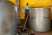 A worker checks fermentation tanks where blue agave mash is fermenting at the Casa Siete Leguas, El Centenario tequila distillery in Atotonilco de Alto, Jalisco, Mexico. After being crushed by a stone mill the agave fibers are mixed with spring water and fermented before being distilled into tequila. The Seven Leagues tequila distillery is one of the oldest family owned distilleries and produces handcrafted tequila using traditional methods.