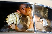20090707: RIO DE JANEIRO, BRAZIL - Brazil and AC Milan star Alexandre Pato wedding with brazilian actress Sthefany Brito at Sao Francisco de Paula church in Rio de Janeiro. In picture: Alexandre Pato kissing Sthefany Brito. PHOTO: CITYFILES