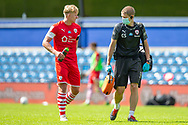Barnsley defender Ben Williams (3) and Barnsley Head Physiotherapist Craig Sedgwick at half-time during the EFL Sky Bet Championship match between Queens Park Rangers and Barnsley at the Kiyan Prince Foundation Stadium, London, England on 20 June 2020.