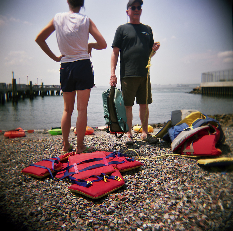 Life jackets and kayaks, Red Hook, Brooklyn, 2009.