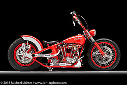 A custom motorcycle built from a Magnum (Sportster top end, and Flathead bottom end) by Arlen Ness. Photographed by Michael Lichter in Sacramento, CA, USA on 1/11/19. ©2019 Michael Lichter.