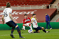 Middlesbrough defender Marvin Johnson (3) with the assist for the goal scored by Middlesbrough  forward Chuba Akpom (10)  during the EFL Sky Bet Championship match between Middlesbrough and Luton Town at the Riverside Stadium, Middlesbrough, England on 16 December 2020.