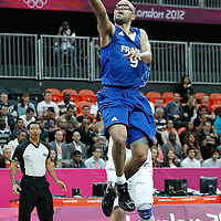 04 August 2012: France Tony Parker goes for the layup during 73-69 Team France victory over Team Tunisia, during the men's basketball preliminary, at the Basketball Arena, in London, Great Britain.