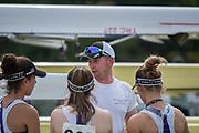 Henley. Berks, United Kingdom. <br /> <br /> Coach, talks to his crew. 2017 Henley' Women's Regatta. Rowing on, Henley Reach. River Thames. <br /> <br /> <br /> Saturday  17/06/2017<br /> <br /> <br /> [Mandatory Credit Peter SPURRIER/Intersport Images]