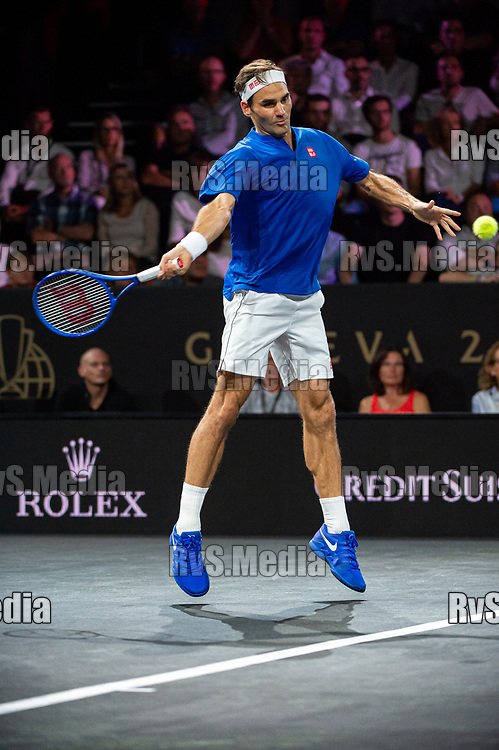 GENEVA, SWITZERLAND - SEPTEMBER 22: Roger Federer of Team Europe in action during Day 3 of the Laver Cup 2019 at Palexpo on September 20, 2019 in Geneva, Switzerland. The Laver Cup will see six players from the rest of the World competing against their counterparts from Europe. Team World is captained by John McEnroe and Team Europe is captained by Bjorn Borg. The tournament runs from September 20-22. (Photo by Robert Hradil/RvS.Media)