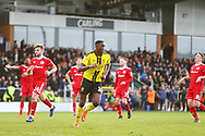 Burton Albion forward Lucas Akins (10) scores his second goal with a penalty kick and celebrates 5-2 during the EFL Sky Bet League 1 match between Burton Albion and Accrington Stanley at the Pirelli Stadium, Burton upon Trent, England on 23 March 2019.