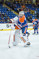 KELOWNA, CANADA - OCTOBER 2: Laurent Brossoit #1 of the Edmonton Oilers warms up against Los Angeles Kings on October 2, 2016 at Kal Tire Place in Vernon, British Columbia, Canada.  (Photo by Marissa Baecker/Shoot the Breeze)  *** Local Caption *** Laurent Brossoit;