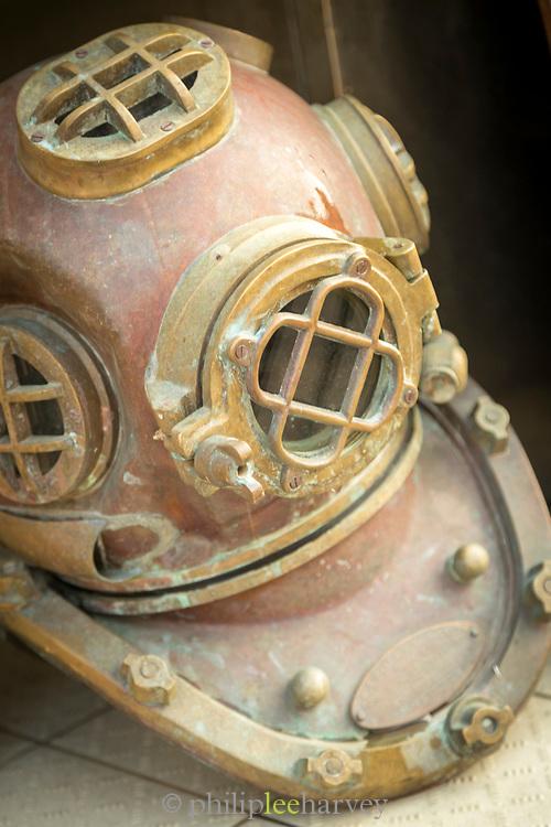 Close up of antique divers helmet, Bonifacio, Corsica, France