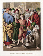 Christ as a boy discussing with the doctors in the Temple. Luke:2. Mid-19th century chromolithograph.