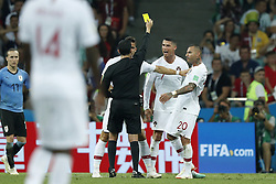 (L-R) referee Cesar Ramos, Andre Silva of Portugal, Cristiano Ronaldo of Portugal, Ricardo Quaresma of Portugal during the 2018 FIFA World Cup Russia round of 16 match between Uruguay and at the Fisht Stadium on June 30, 2018 in Sochi, Russia