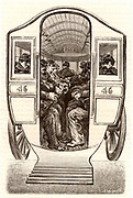 French postal service. Paris postmen being transported by horse bus to the beginning of their rounds. Engraving from 'Le Journal de la Jeunesse' (Paris, 1886).