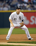 CHICAGO - APRIL 18:  Todd Frazier #21 of the Chicago White Sox fields against the Los Angeles Angels of Anaheim on April 18, 2016 at U.S. Cellular Field in Chicago, Illinois.  The Angels defeated the White Sox 7-0.  (Photo by Ron Vesely)    Subject:  Todd Frazier