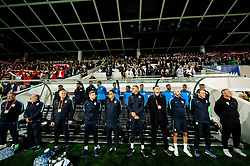 Matjaž Kek, head coach of Slovenia (R) and his assistants during the 2020 UEFA European Championships group G qualifying match between Slovenia and Poland at SRC Stozice on September 6, 2019 in Ljubljana, Slovenia. Photo by Vid Ponikvar / Sportida