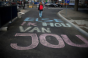 Een liefdesboodschap voor Else is groot op straat geschreven