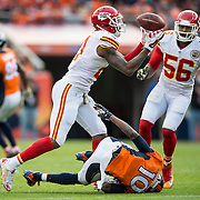 Kansas City Chiefs cornerback Sean Smith (21) intercepted a first quarter pass intended for Denver Broncos wide receiver Emmanuel Sanders (10) on Sunday, November 15, 2015 at Sports Authority Field in Denver, Co. The Chiefs won, 29-13.