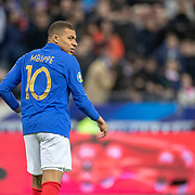 PARIS, FRANCE - March 25:  Kylian Mbappé #10 of France during the France V Iceland, 2020 European Championship Qualifying, Group Stage at  Stade de France on March 25th 2019 in Paris, France (Photo by Tim Clayton/Corbis via Getty Images)