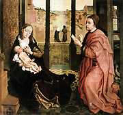 St Luke Drawing the Portrait of the Virgin' c1440. Oil canvas. Rogier van der Weyden (1399/1400-1464) Early Netherlandish painter.  Madonna Jesus Infant Perspective