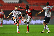 Gary O'Neil (19)  of Bolton Wanderers battles for possession with Famara Diedhiou (9) of Bristol City during the The FA Cup fourth round match between Bristol City and Bolton Wanderers at Ashton Gate, Bristol, England on 25 January 2019.