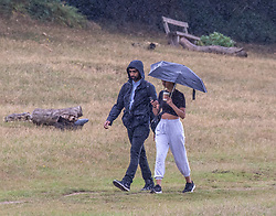 © Licensed to London News Pictures. 23/09/2020. London, UK. Walkers in Richmond Park brave the wind and rain as the warm weather comes to a sudden halt as temperatures plunge by 10c. The unsettled outlook is set to continue with lower temperatures and more rain this week as Autumn finally arrives. The Prime Minister, in a televised appearance last night announced to the Nation further tougher Covid restrictions as the UK moves closer to more seasonal weather. Photo credit: Alex Lentati/LNP