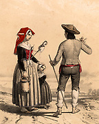 Man, woman and child from the Vallee d'Ossau, French Pyrenees, in traditional regional dress.  The woman is carrying a distaff as it was customary for women to spin yarn as they walked.  Tinted lithograph from 'Nouvelles Suite de Costumes des Pyrenees' (Paris, c1840).