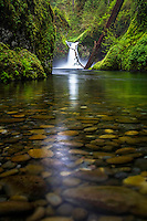 A rocky river bed of Eagle Creek below Punchbowl Falls in the Columbia River Gorge.