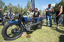 "Invited builder Matt Olsen's ""One of One"" custom Harley on Saturday - for the builder-invite bike check-in for the Born-Free 6 Vintage Chopper and Classic Motorcycle Show. Silverado, CA. USA. June 28, 2014.  Photography ©2014 Michael Lichter."