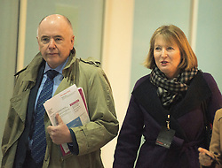 © Licensed to London News Pictures. 01/03/2014. CITY/TOWN e.g Windsor, UK Jack Dromey and Harriet Harmen arrive. Labour Party Special conference today at Excel London on 1st March 2014.  Photo credit : Stephen Simpson/LNP