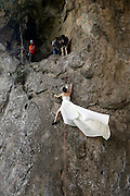 LIUZHOU, CHINA - OCTOBER 26:  China Out - Finland Out<br /> <br /> Couple Have Wedding Photographs taken while rock climbing<br /> <br /> Miss Fang Jin takes Wedding photographs at cliff on October 26, 2013 in Liuzhou, Guangxi Province of China. Fang and her husband, surnamed Zhao, both love outdoor sports and they decided to have their wedding photos taken while rock climbing.<br /> ©Exclusivepix