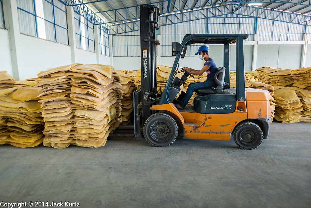 02 SEPTEMBER 2014 - BO THONG, CHONBURI, THAILAND: A warehouse worker at Bothong Rubber Fund Cooperative in Bo Thong, Chonburi, Thailand, stacks rubber sheets bought from farmers in a warehouse at the cooperative. Thailand is the leading rubber exporter in the world. In the last two years, the price paid to rubber farmers has plunged from approximately 190 Baht per kilo (about $6.10 US) to 52 Baht per kilo (about $1.60 US). It costs about 65 Baht per kilo to produce rubber ($2.05 US). A rubber farmer in southern Thailand committed suicide over the weekend, allegedly because the low prices meant he couldn't provide for his family. Other rubber farmers have taken jobs in the construction trade or in Bangkok to provide for their families during the slump.    PHOTO BY JACK KURTZ