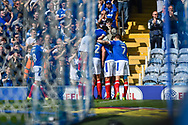 Portsmouth Players Celebrate after Portsmouth Midfielder, Gareth Evans (26) scores a goal from the penalty spot 1-0 during the EFL Sky Bet League 2 match between Portsmouth and Yeovil Town at Fratton Park, Portsmouth, England on 8 April 2017. Photo by Adam Rivers.