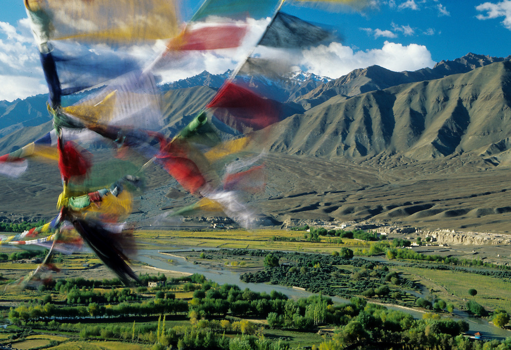 Asia, India, Ladakh, Spituk Monastery,  fluttering prayer flags above Indus Valley are believed by Buddhists to send prayers with each gust of wind