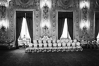 """The empty seats of the 21 ministers appointed by the new Prime Minister of Italy Enrico Letta are here before the swearing ceremony of their new government, supported by the so-called """"Grand Coalition"""" between the right wing People of the Freedom (PdL) of Silvio Berlusconi, the centre-left Democratic Party, and the centric Civic Choice of former Prime Minister Mario Monti, who all have opposed each other during the campaign leading up to the February 2013 general elections, here at the Quirinale, the presidential palace, in Rome, Italy, on April 28th 2013.<br /> <br /> After a two-month long post-election deadlock the 87-years old President of the Republic Giorgio Napolitano, who was re-elected a week earlier on April 20th for a second term after 7 years in office, invited the vice-secretary of the Democratic Party Enrico Letta on April 24th to form a new government."""