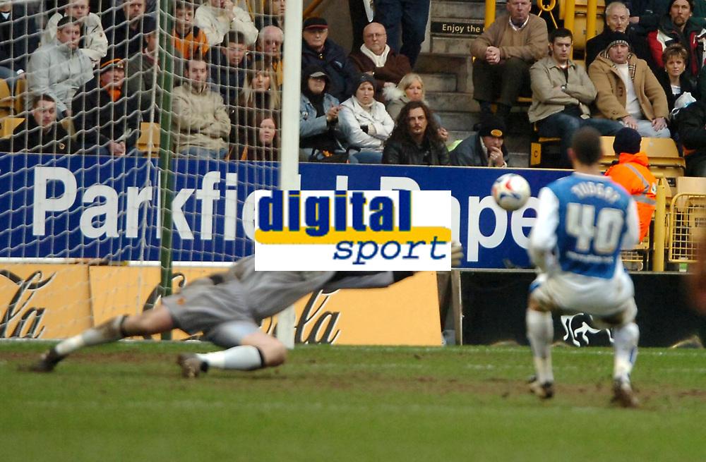 Photo: Ed Godden.<br />Wolverhampton Wanderers v Sheffield Wednesday. Coca Cola Championship. 25/03/2006. <br />Marcus Tudgay scores Wednesdays 3rd goal.