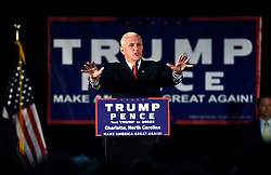 Donald Trump's running mate, Indiana Gov. Mike Pence, sought to shift the focus of the race back to Hillary Clinton during a town hall event held on Monday, Oct. 10, 2016 in Charlotte, NC, USA. Photo by John D. Simmons/Charlotte Observer/TNS/ABACAPRESS.COM