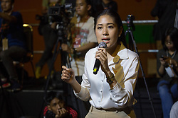 March 22, 2019 - Bangkok, Thailand - Future Forward Party Spokesperson Pannika Wanich speaks with her supporters during the Future Forward Party latest rally before the Thai General Election at the Thai-Japanese Stadium in Bangkok..The country will hold the general election on March 24, 2019, five years after the May 2014 military coup by Junta chief Prayut Chan-o-cha. (Credit Image: © Guillaume Payen/SOPA Images via ZUMA Wire)