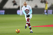 Sofiane Feghouli of West Ham United in action during the pre match warm up. Premier league match, West Ham Utd v Manchester city at the London Stadium, Queen Elizabeth Olympic Park in London on Wednesday 1st February 2017.<br /> pic by John Patrick Fletcher, Andrew Orchard sports photography.