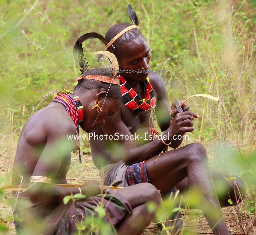 Hamer Tribe Men in conference Photographed in Omo River Valley, Ethiopia