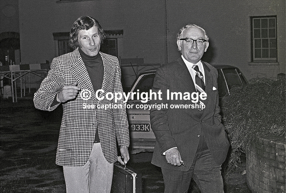 Terry Neill, left, N Ireland soccer team manager, and Harry Cavan, president, Irish Football Association, leave Dunadry Inn, after a meeting to discuss the poor performance of the N Ireland team in their recent match with Cyprus. 197302250101.<br /> <br /> Copyright Image from Victor Patterson, Belfast, UK<br /> <br /> t: +44 28 9066 1296 (from Rep of Ireland 048 9066 1296)<br /> m: +44 7802 353836<br /> e: victorpattersonbelfast@gmail.com<br /> <br /> www.images4media.com<br /> <br /> Please see my full Terms and Conditions of Use at https://www.images4media.com/p/terms-conditions - it is IMPORTANT that you familiarise yourself with them.<br /> <br /> Images used online incur an additional cost. This cost should be agreed in writing in advance. Online images must be visibly watermarked i.e. © Victor Patterson or that of the named photographer within the body of the image. The original metadata must not be deleted from images used online.<br /> <br /> This image is only available for the use of the download recipient i.e. television station, newspaper, magazine, book publisher, etc, and must not be passed on to a third party. It is also downloaded on condition that each and every usage is notified within 7 days to victorpattersonbelfast@gmail.com.<br /> <br /> The right of Victor Patterson (or the named photographer) to be identified as the author is asserted in accordance with The Copyright Designs And Patents Act (1988). All moral rights are asserted.