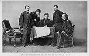 """Sheridan and his right-hand men [Philip Henry Sheridan (March 6, 1831 – August 5, 1888) was a career United States Army officer and a Union general in the American Civil War. His career was noted for his rapid rise to major general and his close association with General-in-chief Ulysses S. Grant, who transferred Sheridan from command of an infantry division in the Western Theater to lead the Cavalry Corps of the Army of the Potomac in the East. In 1864, he defeated Confederate forces under General Jubal Early in the Shenandoah Valley and his destruction of the economic infrastructure of the Valley, called """"The Burning"""" by residents, was one of the first uses of scorched-earth tactics in the war. In 1865, his cavalry pursued Gen. Robert E. Lee and was instrumental in forcing his surrender at Appomattox]. from the book ' The Civil war through the camera ' hundreds of vivid photographs actually taken in Civil war times, sixteen reproductions in color of famous war paintings. The new text history by Henry W. Elson. A. complete illustrated history of the Civil war"""