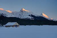 Boathouse on Maligne Lake in winter, Jasper National Park Alberta Canada