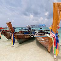 Long-tail boats on Long Beach in Koh Phi Phi Leh.