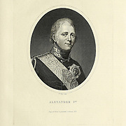 Alexander I (Aleksándr Pávlovich; 23 December 1777 – 1 December 1825) was the Emperor of Russia (Tsar) from 1801, the first King of Congress Poland from 1815, and the Grand Duke of Finland from 1809 to his death. He was the eldest son of Emperor Paul I and Sophie Dorothea of Württemberg. Copperplate engraving From the Encyclopaedia Londinensis or, Universal dictionary of arts, sciences, and literature; Volume XXII;  Edited by Wilkes, John. Published in London in 1827